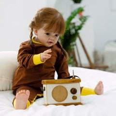 아기우주복 투톤브라운 아기 우주복 신생아 지퍼우주복