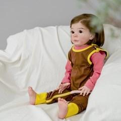 점프수트 투톤브라운 아기 점프슈트 신생아점프슈트 롬퍼