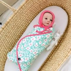 신생아속싸개 잔꽃 아기 속싸개 신생아 이불 담요 목욕가운