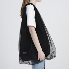 Mesh Layered Shoulder Bag_ Black