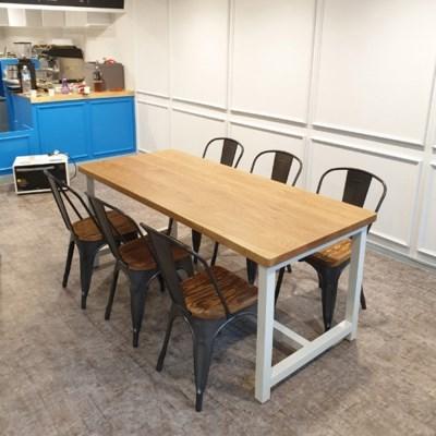 [오크 우드슬랩]블루보틀 테이블 통원목 일체형 철재 프레임 2200