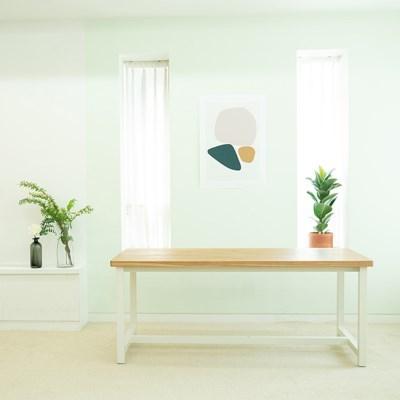[오크 우드슬랩]블루보틀 테이블 통원목 일체형 철재 프레임 1600