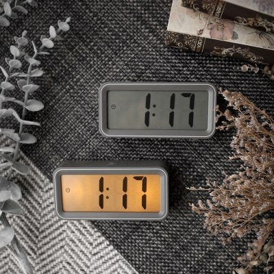 [Banana]먹색 눈편한 디자인 LCD타이머, 온도,알람 탁상 시계 S