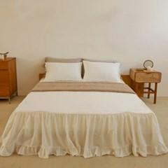더블 프릴 광목 침대스커트