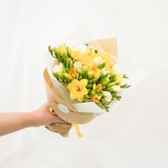[옐로화이트 프리지아] 따뜻한 봄이 물들은 꽃다발