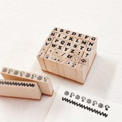 스누피 알파벳 스탬프 세트 Snoopy Petit Alphabet Stamp Set