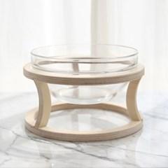 펫앤리빙 고양이 강아지 원목 유리 물그릇 세트