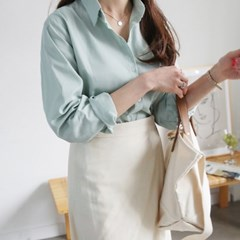 [하늘바라기]프린 코튼 베이직 셔츠