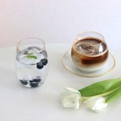 골드라인 볼록 카페 유리컵 커피잔