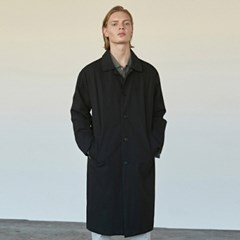 COTTON SINGLE MAC LONG COAT_BLACK