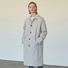 COTTON SINGLE MAC LONG COAT_LIGHT GRAY