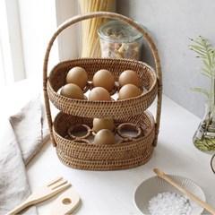 라탄 계란 2단 바구니