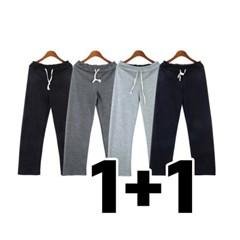 [1+1] 남자 봄 여름 부드러운 끈 밴딩 일자핏 트레이닝 팬츠 바지