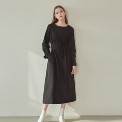 PURE BELTED LONG DRESS_BLACK