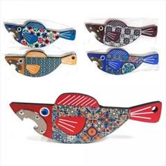 물고기 원목 자석병따개 1개(색상랜덤)