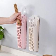 다용도 벽걸이 뚜껑 수저통 1개(색상랜덤)