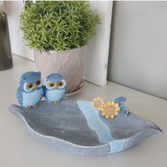블루 부엉이 나뭇잎 트레이 (08467)