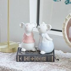 도자기 마우스 커플 장식 2P 대