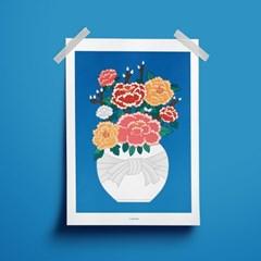 부귀영화 모란 꽃병 - 민화 일러스트 포스터 액자