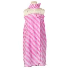 알콩단잠 골프샤워가운 타올 랩 목욕가운 핑크 (헤어밴드SET)