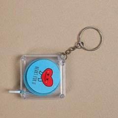 사각 스퀘어 열쇠고리 줄자 1개(색상랜덤)