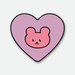 핑크 키치 베어 하트톡