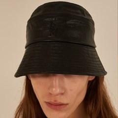 [써틴먼스] STITCH LEATHER BUCKET HAT BLACK
