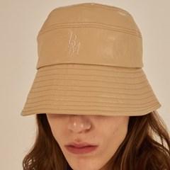 [써틴먼스] STITCH LEATHER BUCKET HAT BEIGE
