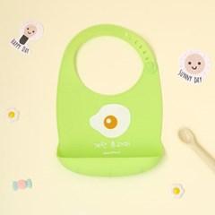 유아용 이유식 실리콘 턱받이_계란후라이 (출산선물 백일 돌)