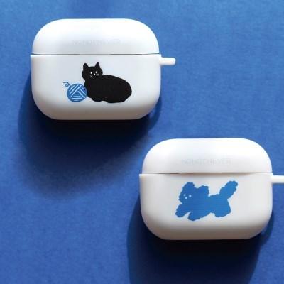 [에어팟 프로 케이스] 파란 뭉개 / 털실 고양이