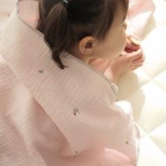 튤립자수 핑크 이중거즈 블랭킷