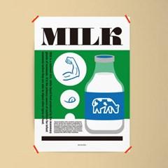 밀크 타이포그래피 M 유니크 인테리어 디자인 포스터
