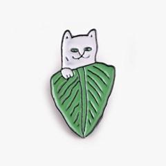 잎사귀 고양이 금속 뱃지