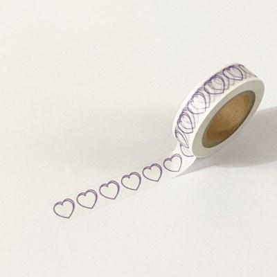 heart masking tape (line_light purple)