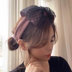 도트 왕리본 반다나 넓은 헤어터번 면 헤어밴드 머리띠 9color