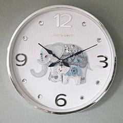 예쁜 인테리어 파인보석 코끼리 심플벽시계 실버