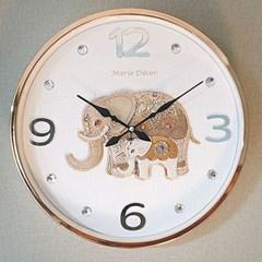 예쁜 인테리어 파인보석 코끼리 심플벽시계 골드