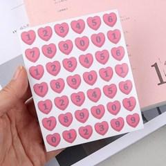 핑크 하트 숫자 인스 스티커