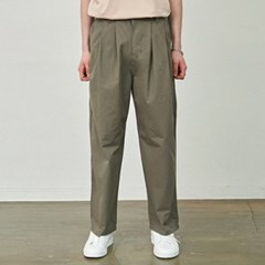 WIDE PINTUCK COTTON PANTS_KHAKI