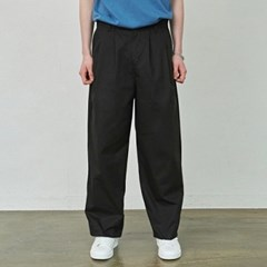 WIDE PINTUCK COTTON PANTS_BLACK
