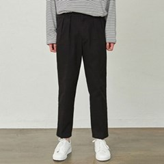 PINTUCK TWILL COTTON PANTS_BLACK