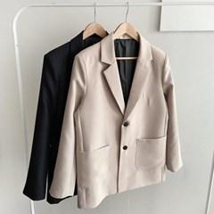 기본 블랙 베이지 오버핏 세미 싱글 투버튼 정장 자켓
