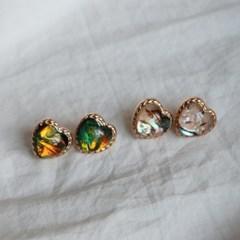 오로라 자개 마블 빈티지 하트 귀걸이 (2color)