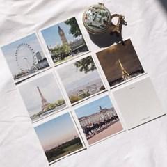 [메리필름] 런던 파리 감성 미니 정사각 유럽 엽서 set (7장)