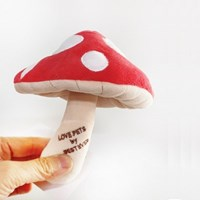 [PetToy]Love Pet Squeaky Mushroom Red바스락삑삑