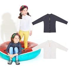 [키썸플레이] 유아 아동 심플 집업 래쉬가드 (2color)_(3808297)