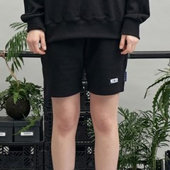 blue weave label shorts (black)