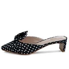 kami et muse Middle heel ribbon dot slippers_KM20s019