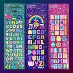 글리터 레트로 알파벳 숫자 스티커