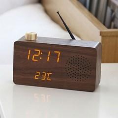 Interior Wood mini LED 탁상시계 FM 클래식 라디오